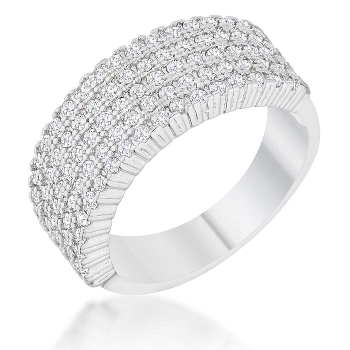 Rings Gwen 1ct CZ Rhodium Wide Ring angelucci-jewelry