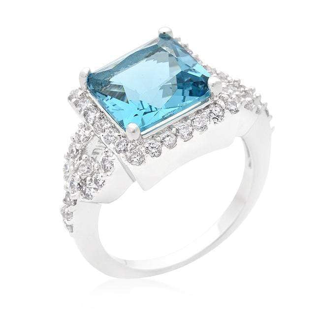Rings Halo Style Princess Cut Aqua Blue Cocktail Ring angelucci-jewelry