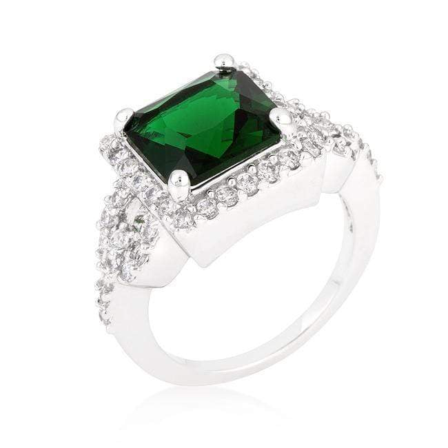Rings Halo Style Princess Cut Emerald Green Cocktail Ring angelucci-jewelry
