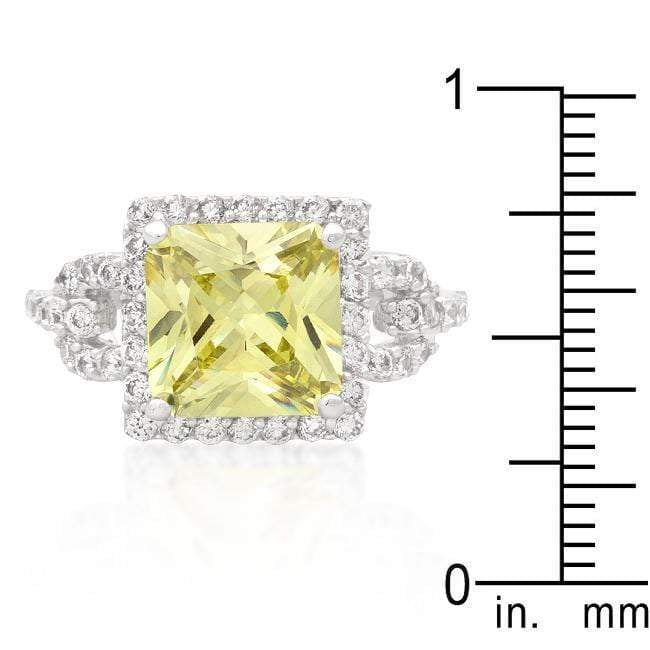 Rings Halo Style Princess Cut Peridot Cocktail Ring angelucci-jewelry