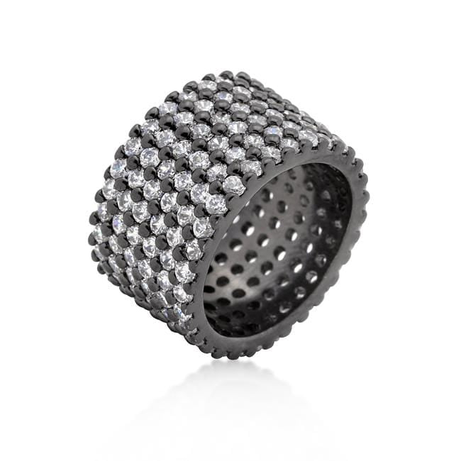Rings Hematite Wide Pave Cubic Zirconia Ring angelucci-jewelry