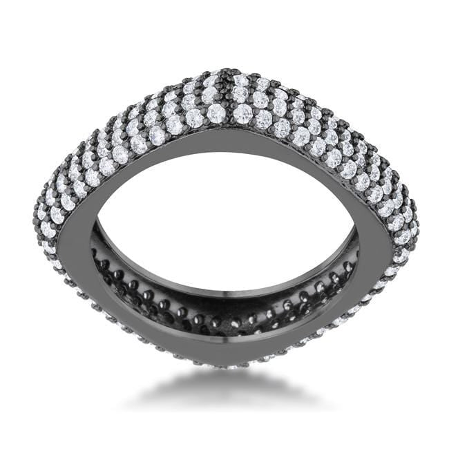 Rings Jana 1.29ct CZ Hematite Contemporary Square Band Ring angelucci-jewelry
