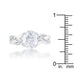 Rings Justine 2ct CZ Rhodium Classic Oval Ring angelucci-jewelry
