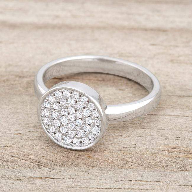 Rings Krystal 0.2ct CZ Rhodium Pave Circle Ring angelucci-jewelry