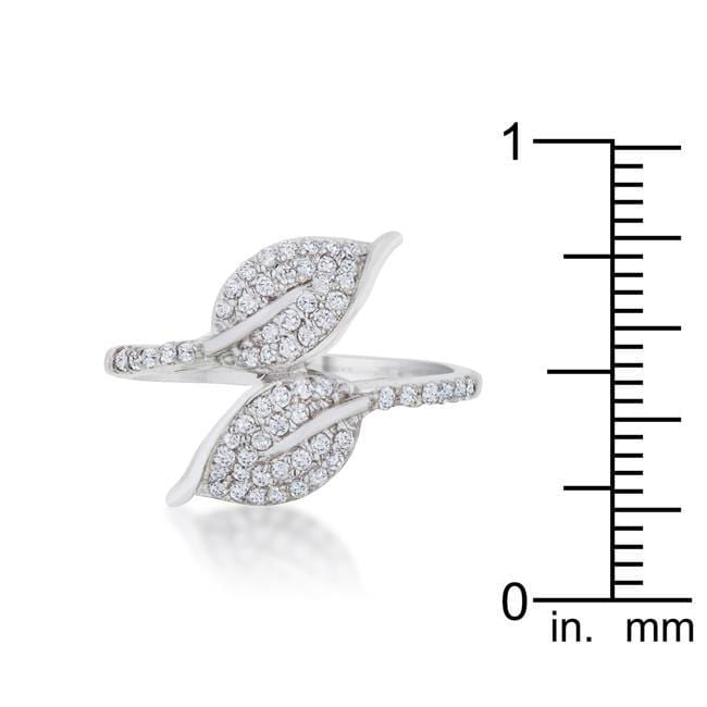 Rings Liana 0.1ct CZ Rhodium Leaf Wrap Ring angelucci-jewelry