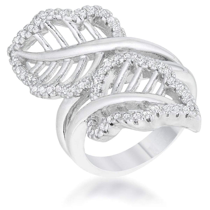 Rings Lina 0.4ct CZ Rhodium Leaf Wrap Ring angelucci-jewelry
