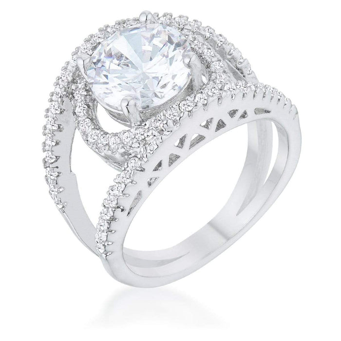 Rings Marcie 3ct CZ Rhodium Contemporary Ring angelucci-jewelry