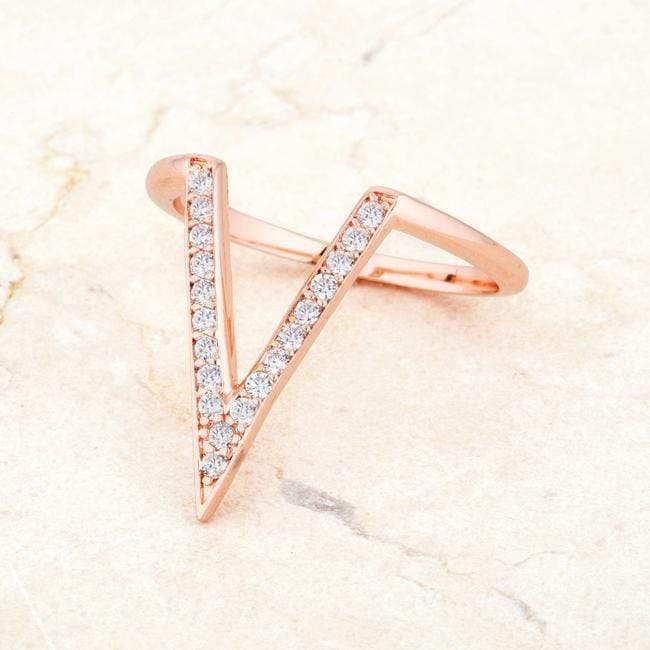 Rings Michelle 0.2ct CZ Rose Gold Delicate V-Shape Ring angelucci-jewelry