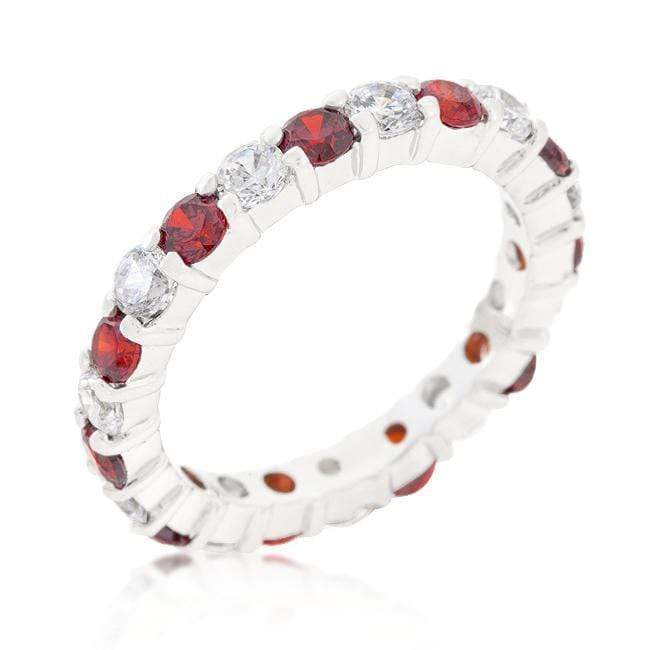 Rings Mini Jessica Band with Garnet Cubic Zirconia angelucci-jewelry