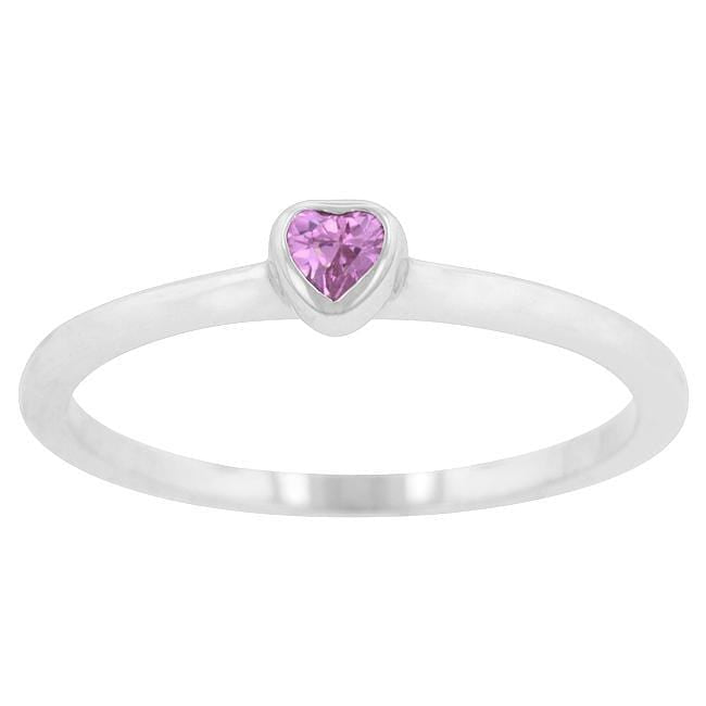 Rings Mini Pink Heart Solitaire Ring angelucci-jewelry