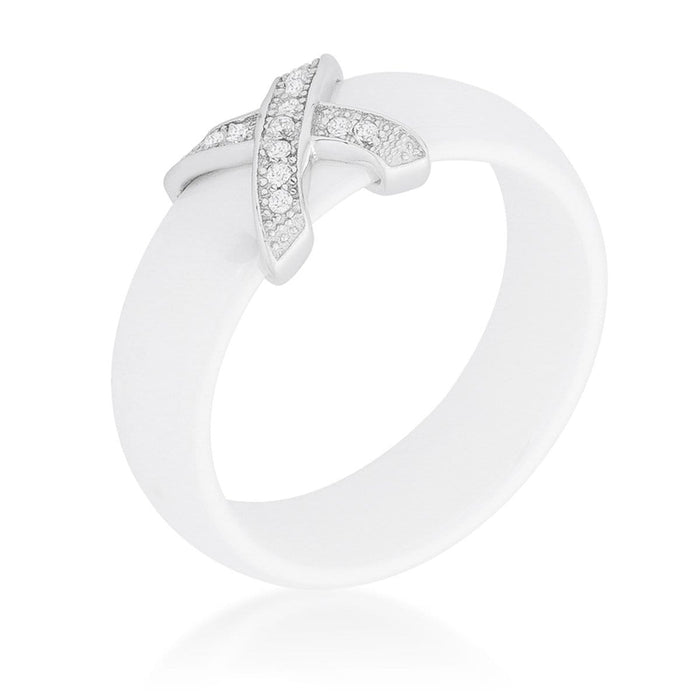 Rings Modern Classic X Ring - White angelucci-jewelry