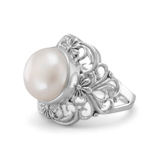 Rings Ornate Filigree Cultured Freshwater Pearl Ring angelucci-jewelry