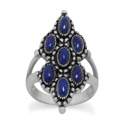 Rings Ornate Oxidized Lapis Ring angelucci-jewelry
