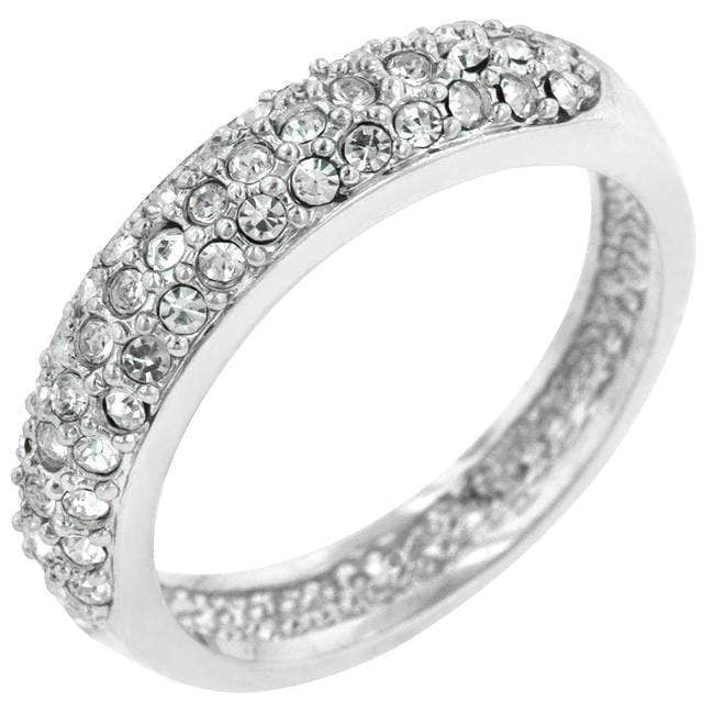 Rings Pave Crystal Silvertone Band angelucci-jewelry