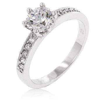 Rings Petite White Engagement Ring angelucci-jewelry