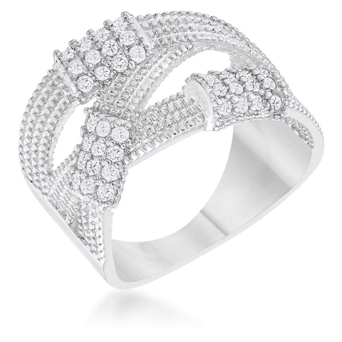 Rings Peyton 0.36ct CZ Rhodium Wide Cable Statement Ring angelucci-jewelry