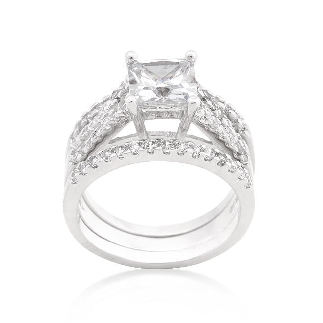 Rings Princess Cut Cubic Zirconia Triple Bridal Set angelucci-jewelry