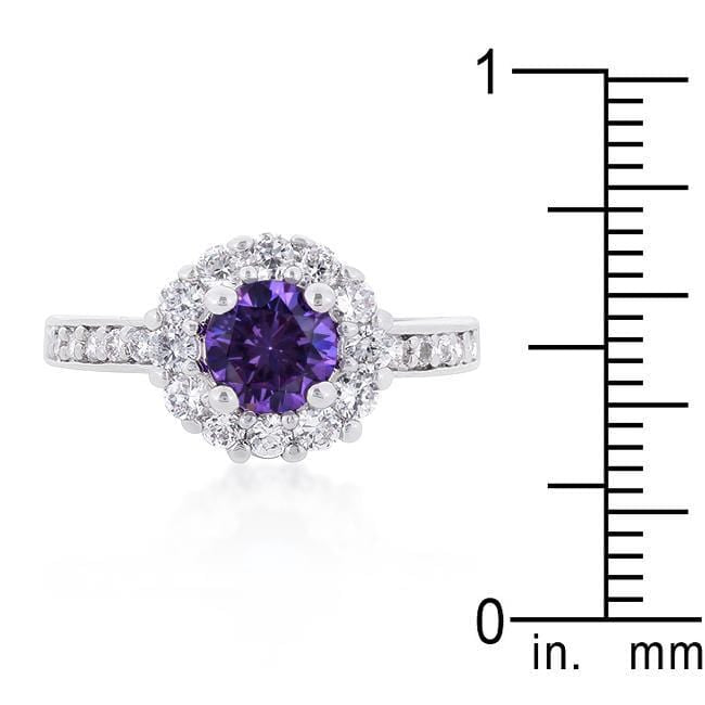 Rings Purple Halo Engagement Ring angelucci-jewelry