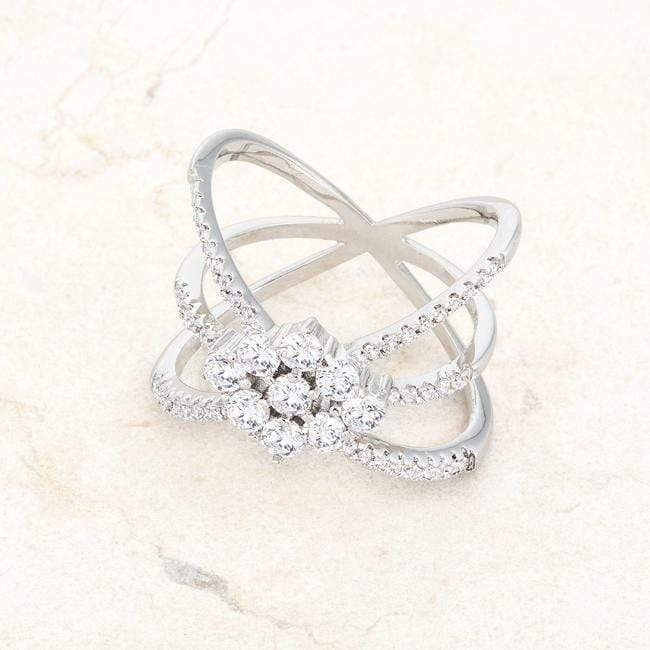Rings Rhodium Plated Mindy 0.8ct CZ Delicate Triple Wrap Ring angelucci-jewelry