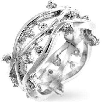 Rings Rhodium Plated Zircon Vines Ring angelucci-jewelry