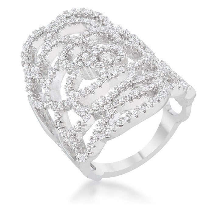 Rings Rosa 1.25ct CZ Rhodium Filigree Cocktail Ring angelucci-jewelry