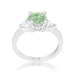 Rings Shonda 1.8ct Peridot CZ Rhodium Cushion Classic Statement Ring angelucci-jewelry