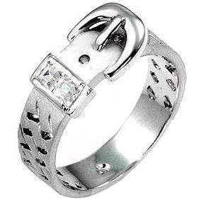 Rings Silvertone Buckle Ring angelucci-jewelry