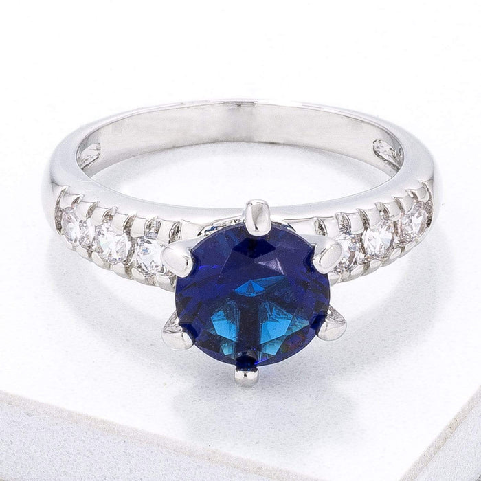 Rings Simple Royal Blue CZ Engagement Ring angelucci-jewelry