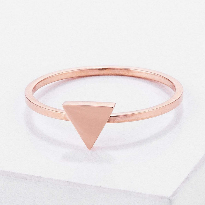 Rings Stainless Steel Rose Goldtone Plated Triangle Stackable Ring angelucci-jewelry