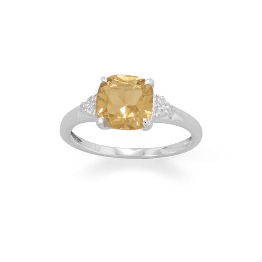 Rings Sterling Silver Citrine and CZ Band angelucci-jewelry