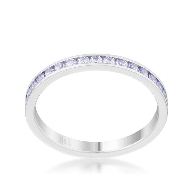 Rings Teresa 0.5ct Light Lavender CZ Stainless Steel Eternity Band angelucci-jewelry