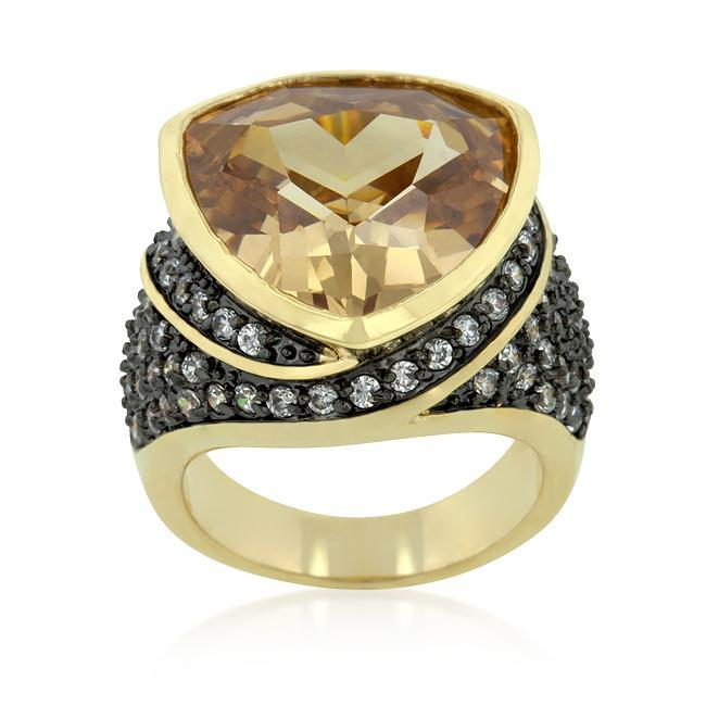 Rings Triangle Cut Two-tone Finish Cocktail Ring angelucci-jewelry