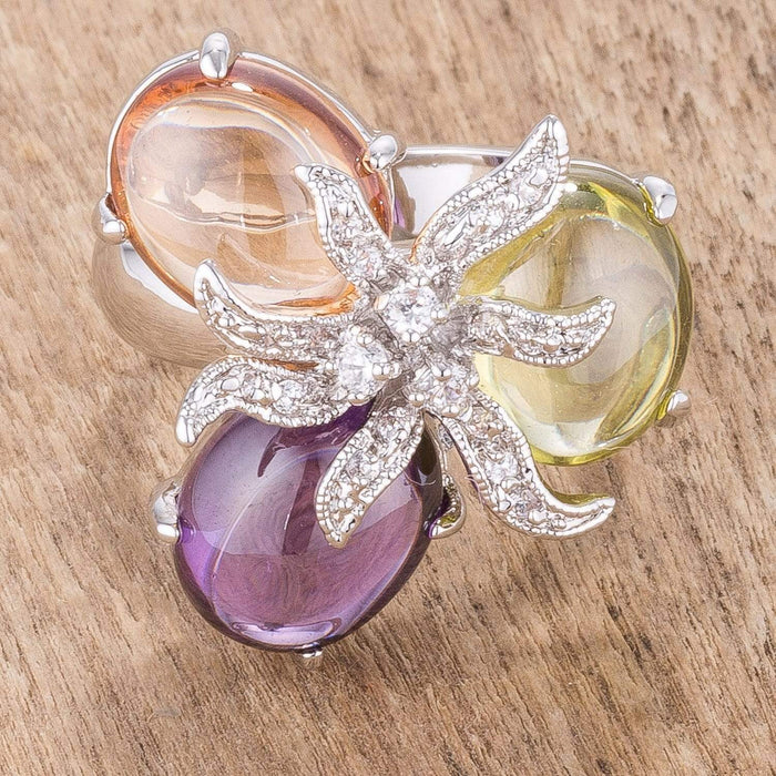 Rings Triple Bead Floral Ring angelucci-jewelry