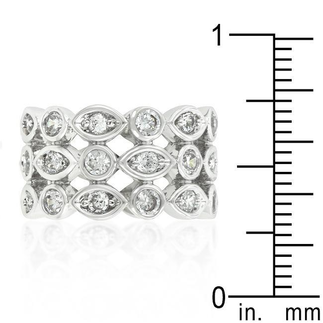 Rings Triple Row Clear Cubic Zirconia Eternity Band angelucci-jewelry