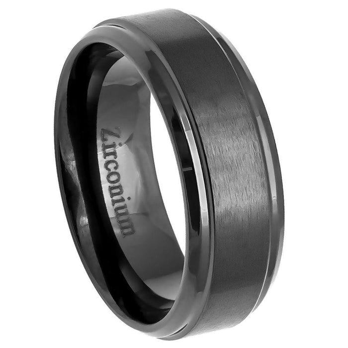 Rings Zirconium Natural Gun Metal Tone Brushed Center with Stepped Edge - 8mm angelucci-jewelry