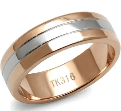 Rose Gold and White Gold Tungsten Ring angelucci-jewelry
