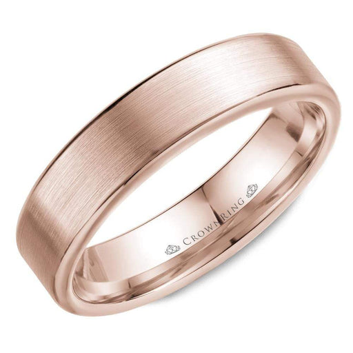 Rose Gold Sandpaper Top & High Polish Round Edges Mens Wedding Band angelucci-jewelry