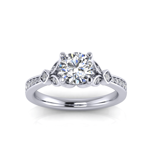 Round Brilliant Floral Motif Diamond Engagement Ring angelucci-jewelry