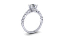 Round Center Diamond Engagement Ring with Side Alternating Marquise and Round Accents angelucci-jewelry
