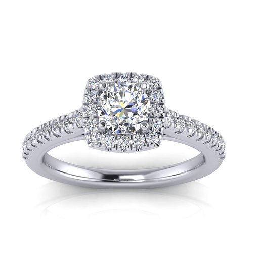 Round Center Halo with Side Diamonds Engagement Ring with Diamond Accent Gallery angelucci-jewelry