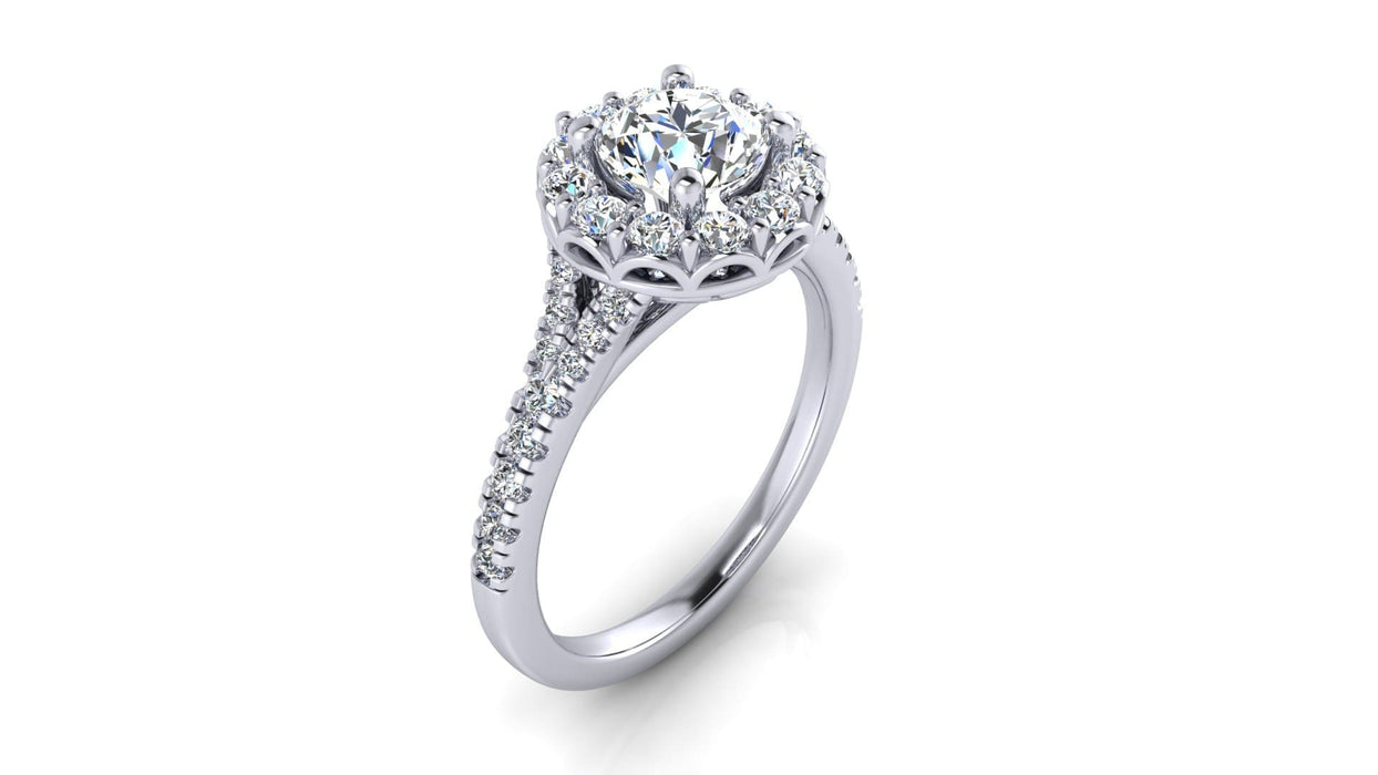 Round Halo Diamond Engagement Ring with Side Diamonds angelucci-jewelry