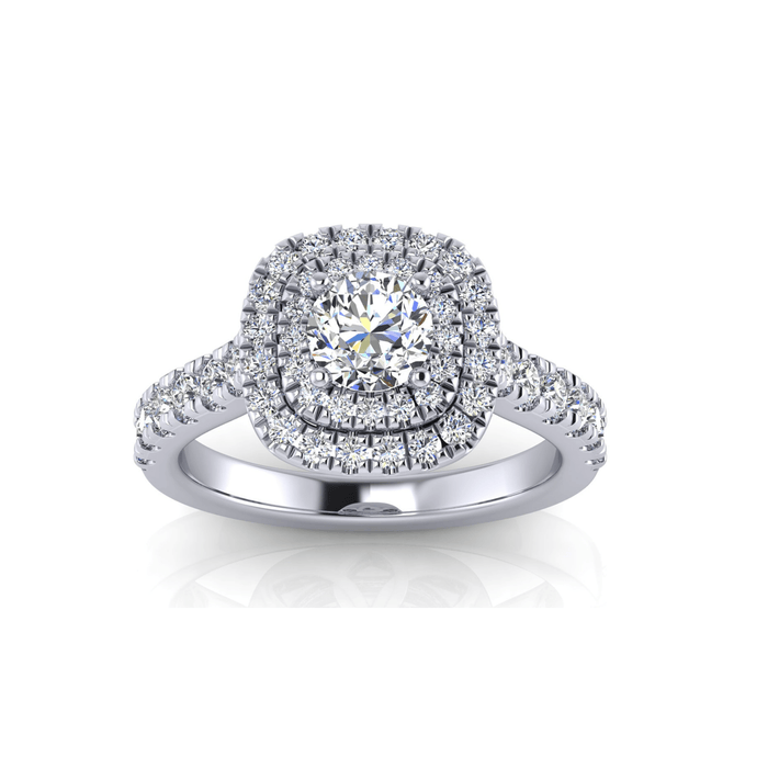 Round Shape 14-Karat Double Halo Diamond Engagement Ring with Large Side Diamonds angelucci-jewelry