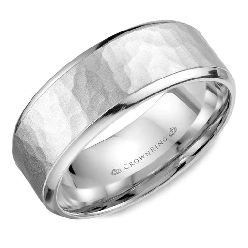 Sandblast Hammered Center & High Polish Edges Mens Wedding Band angelucci-jewelry