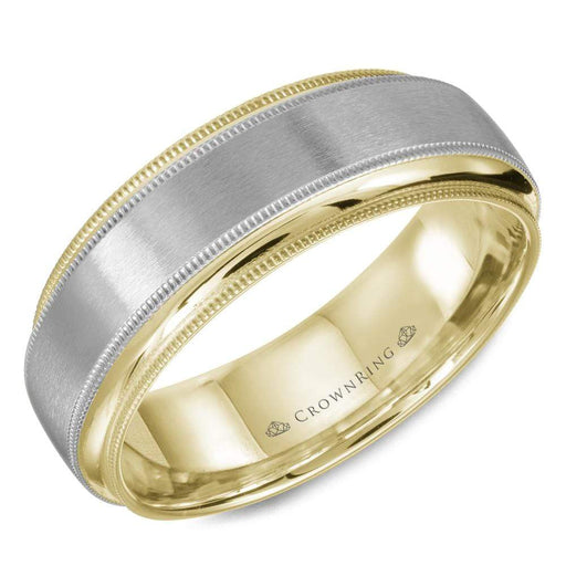 Sandpaper Center & High Polish Edge with Milgraine Mens Wedding Band angelucci-jewelry