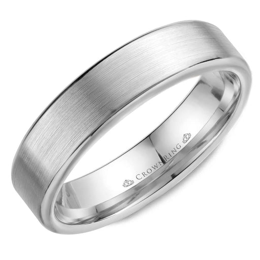 Sandpaper Top & High Polish Round Edges Mens Wedding Band angelucci-jewelry