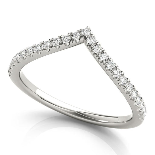 Small Round Diamond Chevron Wedding Band angelucci-jewelry