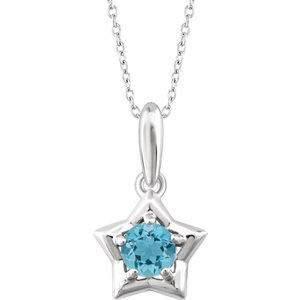 Sterling Silver Cubic Zirconia March Birthstone Star Youth Necklace angelucci-jewelry