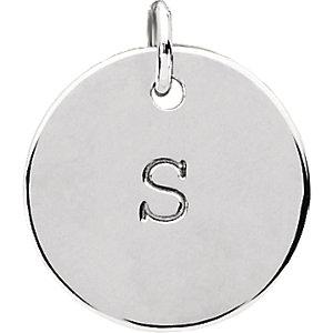 Sterling Silver Posh Mommy® Engravable Medium Disc Pendant angelucci-jewelry