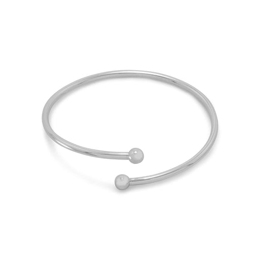 Story beads Flex Bangle with Silver Bead Ends angelucci-jewelry