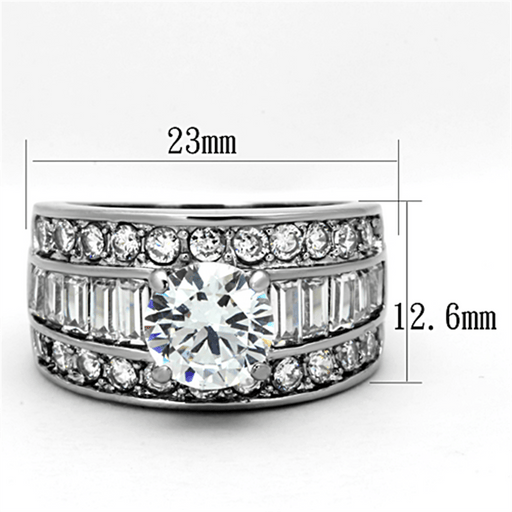 Three-Row Channel Set Baguette and Round CZ Engagement Ring angelucci-jewelry